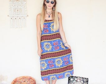 Vintage 90's Sun Print Maxi Dress