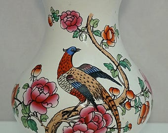 WINKLE Pottery WHIELDON Ware C1885 Victorian Semi-China PHEASANT Pattern Vase