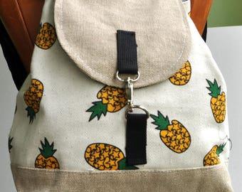 Canvas Backpack pineapple khaki flap ,school back, holiday back,cross body back, canvas shopping back , holiday gift back,