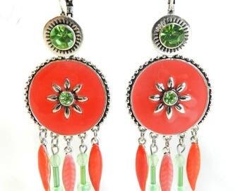 "Earrings ""Amissa"" sleeper silver metal frame, handmade"