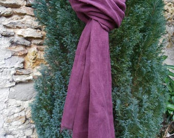 CHEICH plum 100% linen, frayed and washed