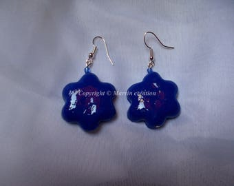 Electric blue polymer clay earrings