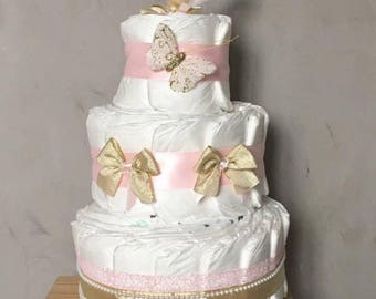 Gold and pink girl diaper cake