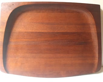 "Giant Early Dansk Jens Quistgaard Staved Teak Board / Tray - 4 ducks ""Danmark"" IHQ JHQ"