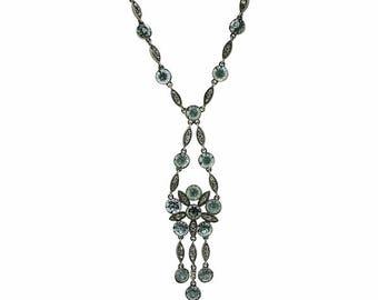 Edwardian Aquamarine Rhinestone Vintage Floral Necklace