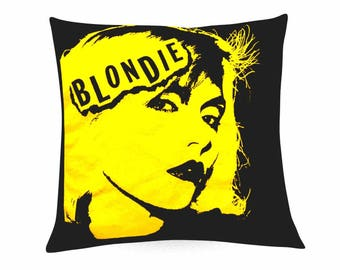 Blondie cushion, Debbie Harry print, graphic print cushion cover,decorative pillow, home accessories, hrow pillow,home decor, yellow cushion
