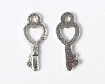 10 pc Antique Silver Small Heart Key Charm 18x8mm