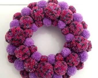 Wool Pom Pom Wreath