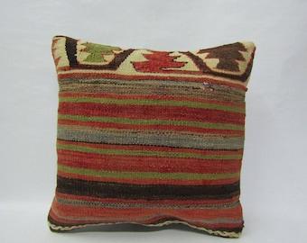 Kilim Pillow Cover,16x16 inches,40x40cm,Decorative Turkish Anatolian Tribal Vintage Kilim Pillow Cover