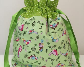 Knitting bag / knitting bags / crochet bag / project bag - green birds