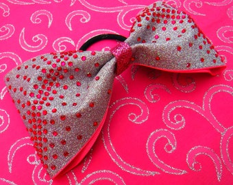 Tailless Cheer Bow, Tuxedo Bow Silver Glitter with Pink Rhinestones