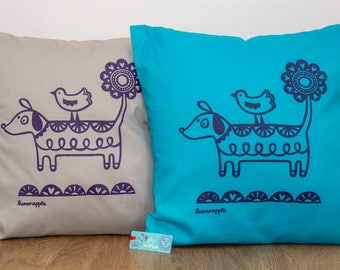 Dog Cushion - Hand Screen Printed, Dog Screen Print, Dachshund Print, Sausage Dog Print, Daschund Cushion, Housewarming Gift, FREE P&P!