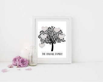 Family Tree Print, Family Tree Art, Personalised Family Tree Print, Personalised Family Tree, Monochrome Family Tree
