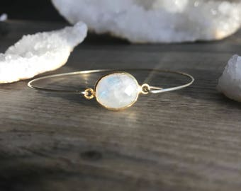 Moonstone gold plated bracelet / moonstone bracelet