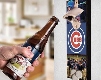 Chicago Cubs Wall Mount Bottle beer Opener, Chicago Cubs Diy, Cubs Craft, Chicago Cubs Wall Art, Chicago Cubs Catcher, Chicago Cubs gift