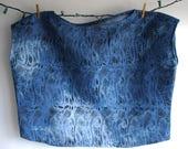 Crocus Tie Dye Denim Block Printed Top // Chambray // Floral Shirt