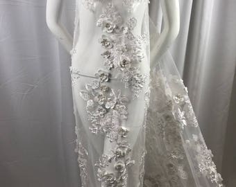 Bridal Fabric - White Lace 3D Flower-Floral Embroidered Mesh Beaded By The Yard