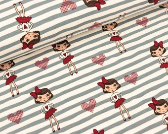 Cotton jersey wave stripe Blue girls and hearts (10.90 EUR/meter)