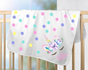 Personalized Unicorn Blanket / Pastel Unicorn / Watercolor Unicorn / Personalized Baby Blanket / 30x40 / White Microsoft Fabric / Super Soft
