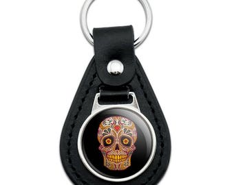 Skull Day of the Dead Southwestern Black Leather Keychain