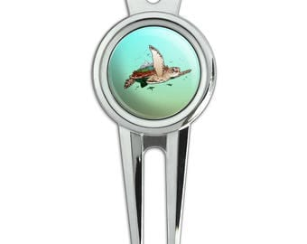Sea Turtle Flying Golf Divot Repair Tool and Ball Marker