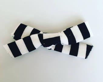 Black and White Stripe Emma Bow
