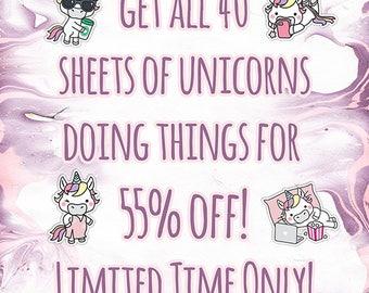 55% Off! Kawaii Unicorns: 40 Sheet Mega Bundle || 600+ Deco Stickers || ECLP, HappyPlanner, BuJo