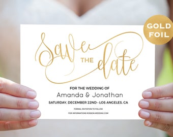 Gold Save the Date Template - Save the Date Cards - Gold Wedding - Simple  - Save the Date Printable,- Downloadable wedding #WDH67SDGN6