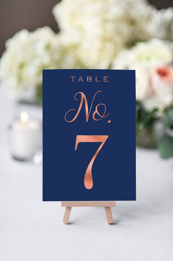 Wedding Table Number Printable - Table Numbers - Navy and Rose ...