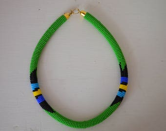 African Maasai Beaded Necklace | African Choker Necklace | Multi color Necklace | Green Necklace | Gift for Her | One Piece
