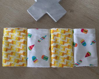 Baby burp cloth / dribble cloth - set of 4