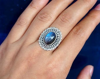 Natural Top Quality Blue Fire Labradorite Vintage 925 Sterling Silver Ring, Genuine Ring, Birthday and holiday Gift, US Size 6 3/4,J277