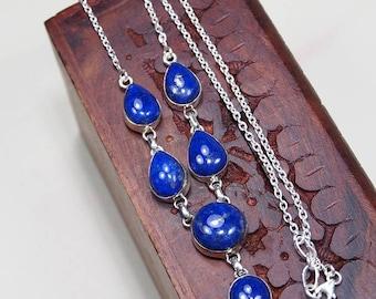 """Lapis lazuli necklace - Lapis lazuli jewelry -925 Sterling silver-lapis necklace - lapis jewelry - deep blue stone necklace 19 1/2"""" X1180"""
