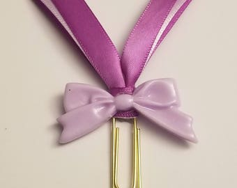 Purple Two Tone Bow Decorated Planner Clip Accessory-Purple Bow Planner Paperclip-Bow Decorated Planner Paperclip-Purple Planner Accessory