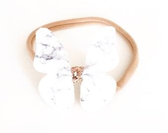 Marble butterfly headband, faux leather headband