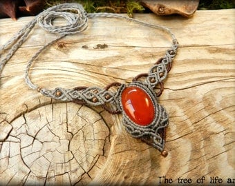 Macrame necklace with red Agate stone/Ethnic necklace/Tribal macrame/Festival jewelry/Elven necklace/Micromacrame/Βoho/Thetreeoflifeart