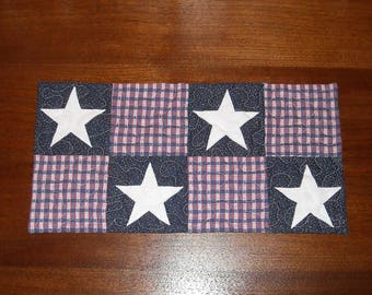 "Small, new, patriotic table runner.  7 1/2"" X 15"". Red, white, and blue plaid with applique stars."