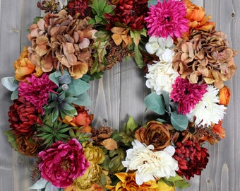 Front Door Decor Wreath, Farmhouse Wreath, Country Wreath, Rustic Tuscan Wreath, Floral Grapevine Wreath, Farmhouse Decor, Country Decor
