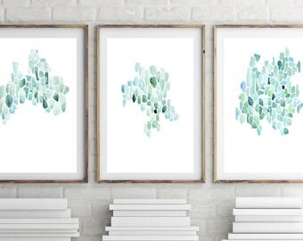 Abstract, Watercolor, Print Set, Coastal Wall Decor, Sea Glass Print, Gallery Wall Art Set, Set of 3 Prints, Abstract Beach Print, Simple