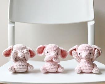 Three wise ELEPHANTS crochet amigurumi - see no evil, speak no evil, hear no evil - crochet toy, elephant baby gift, gift for kids