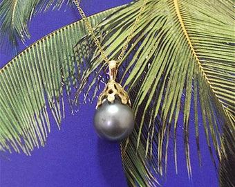 Tahitian Pearl Pendant, 14KT Yellow Gold Tahitian Pearl Pendant W. Filigree Top, P5051,  Made in Hawaii