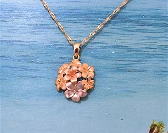 Plumeria Pendant, 14KT Gold TriColors Plumeria Flowers Pendant, P5178