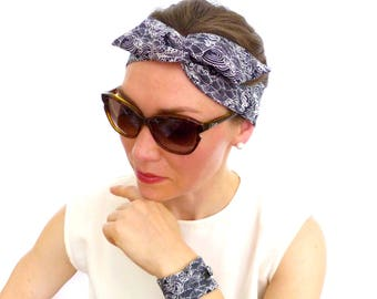 JAPANESE COTTON, Twist Headband / Hairband, Black & White