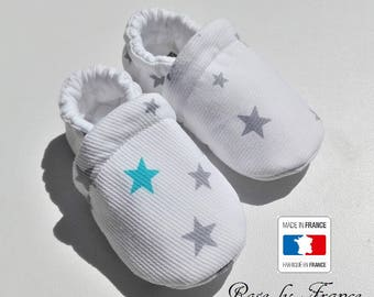 Turquoise and grey star cotton baby shoes