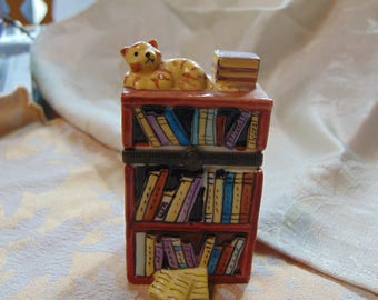 Book Case trinket box with cat trinket