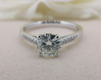 1 carat Forever Brilliant Moissanite Engagement ring with natural diamonds, Bridal Ring,Diamond Alternative engagement ring