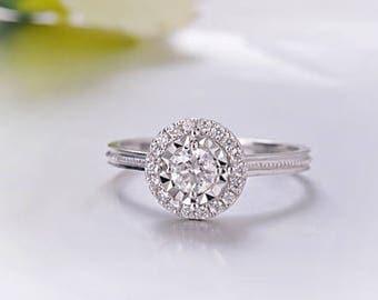 0,25 carat Halo moissanite engagement ring in 18k White Gold, Diamond Engagement Ring, Anniversary Ring