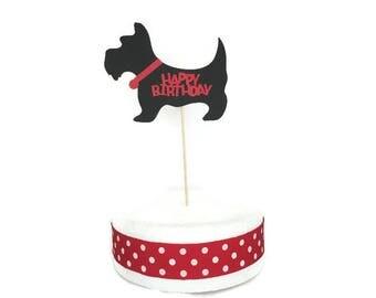 Scottie Dog Happy Birthday Cake Topper-Dog theme party,dog cake topper,Scottish Terrier