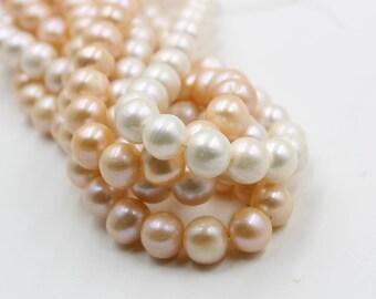 10 - 11 mm white / pink round freshwater pearls, round pearl, full strand, round pearl strands, pearl wholesale