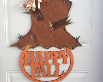 Happy Fall Scarecrow door hanger, Fall Door Hanger